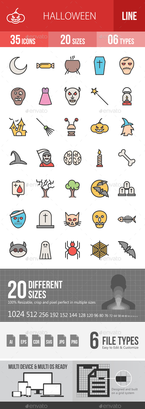 Halloween Filled Line Icons - Icons