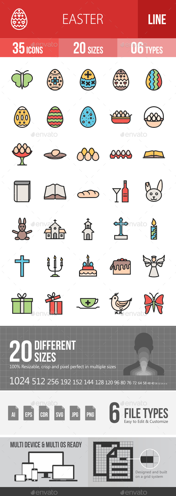 Easter Filled Line Icons - Icons