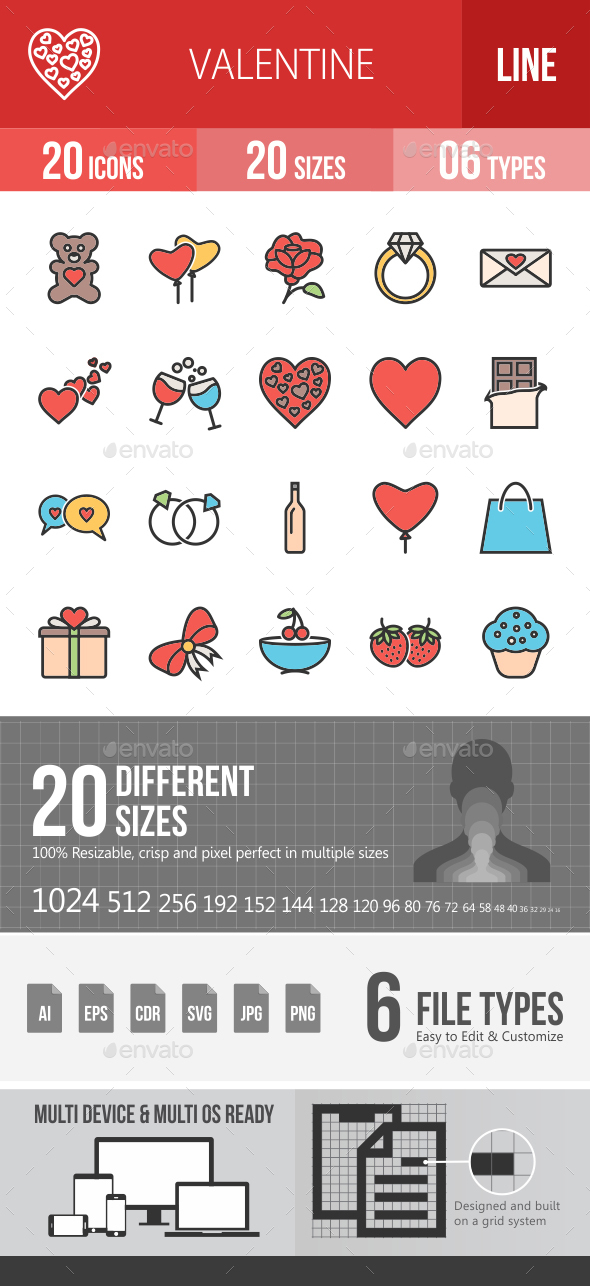 Valentine Filled Line Icons - Icons