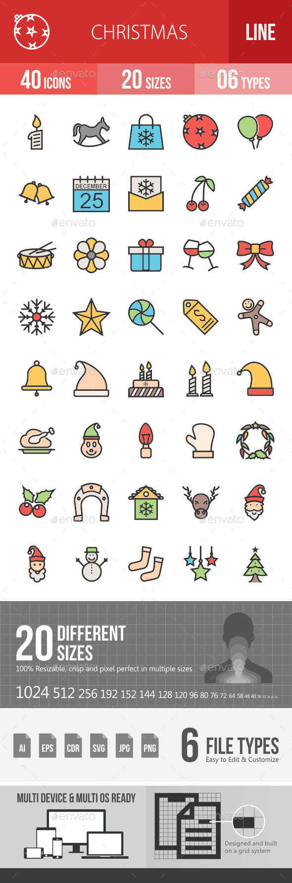 Christmas Filled Line Icons - Icons