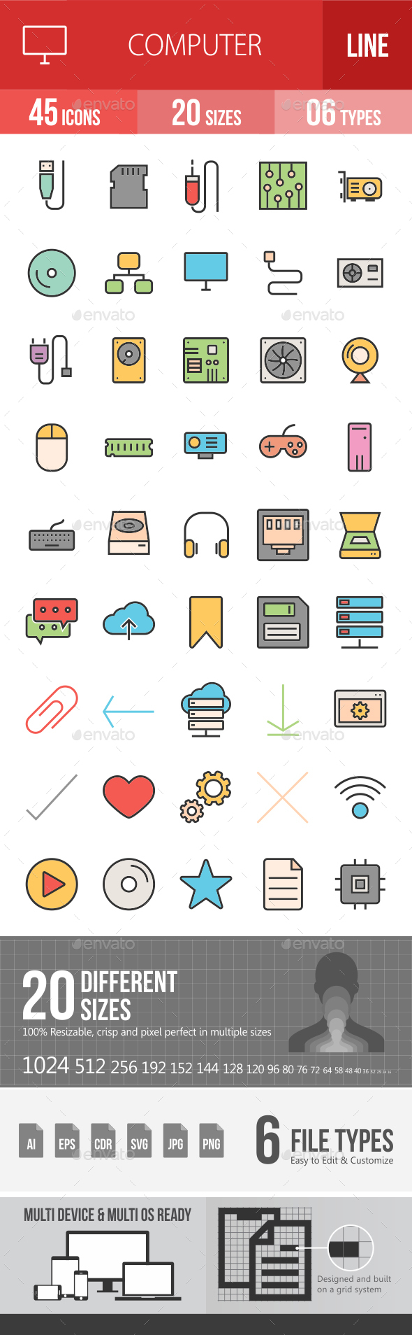 Computer Hardware Filled Line Icons - Icons