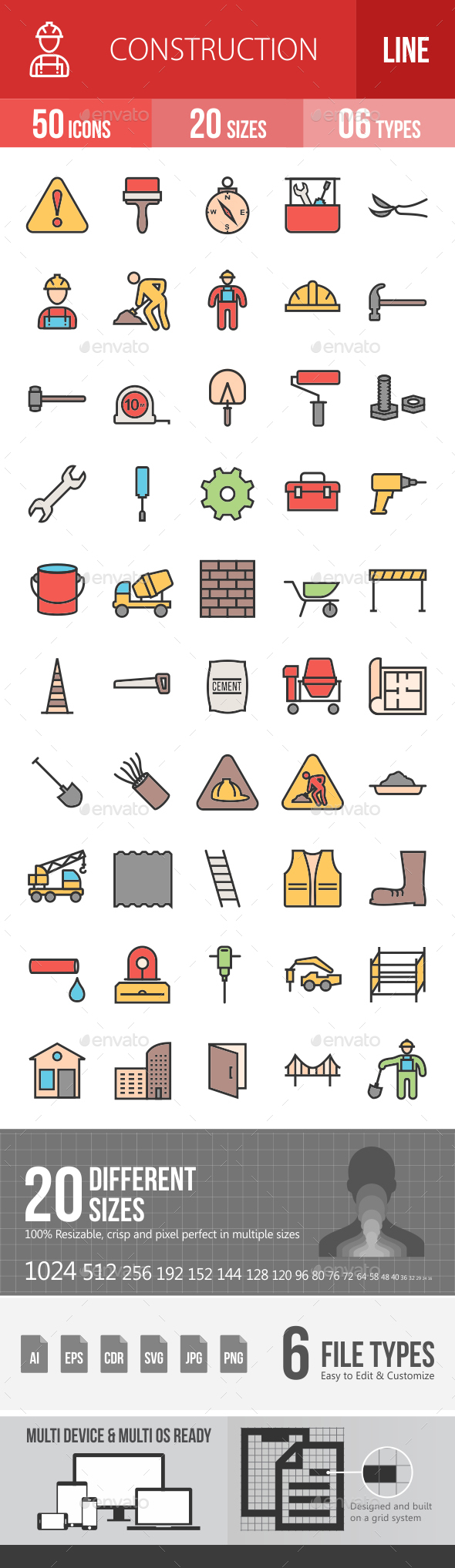 Construction Filled Line Icons - Icons