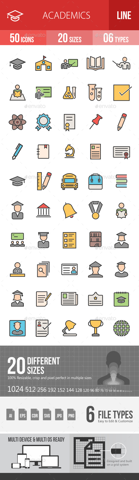 Academics Filled Line Icons - Icons
