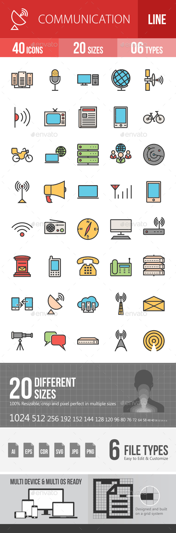 Communication Filled Line Icons - Icons