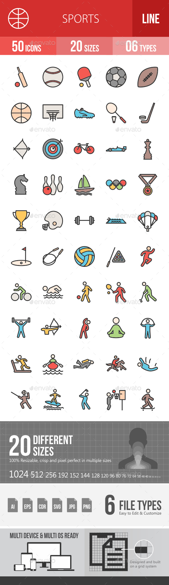 Sports Filled Line Icons - Icons