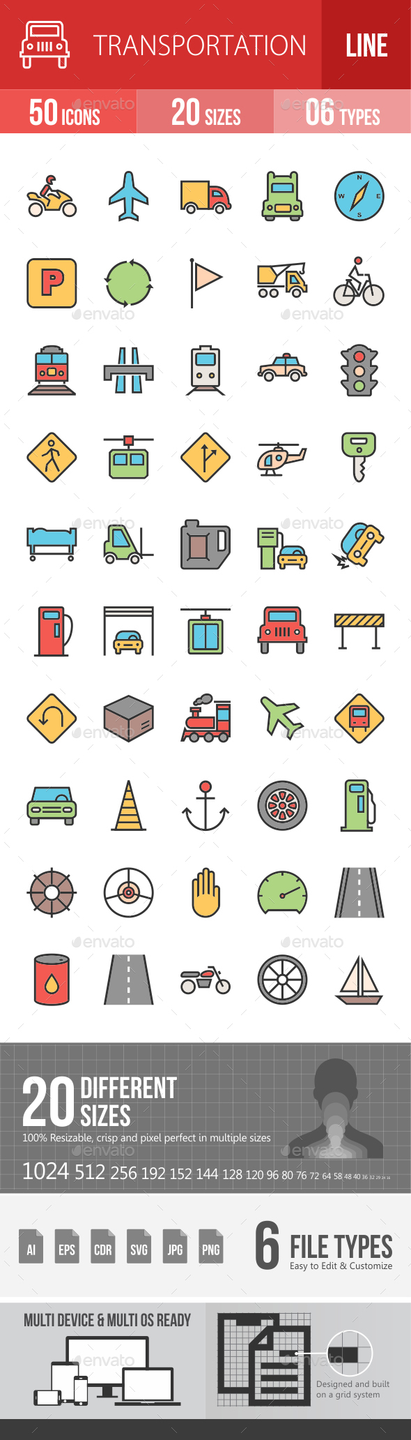 Transport Filled Line Icons - Icons