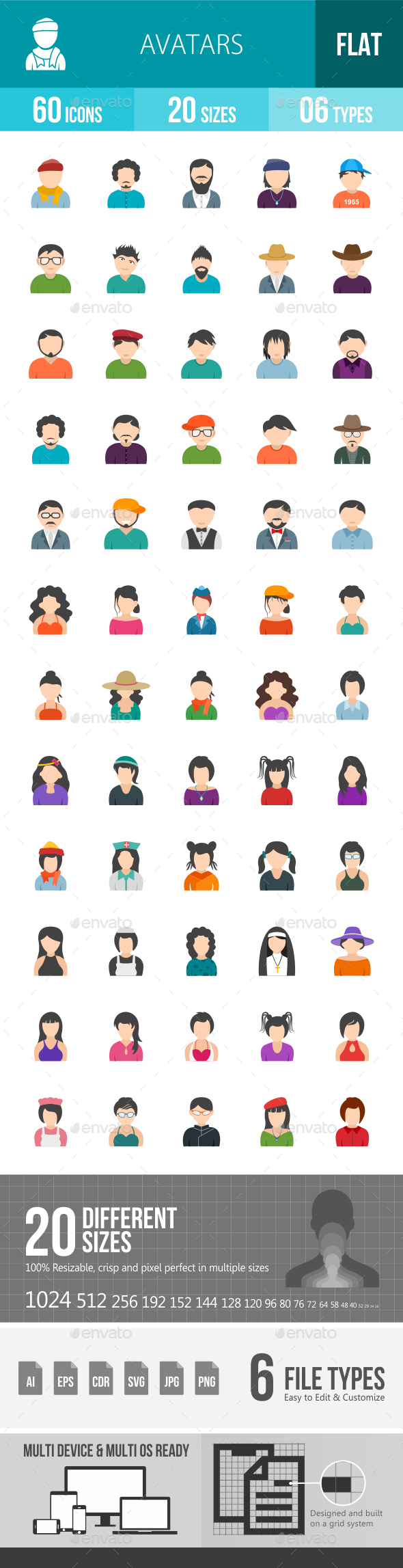 Avatars Flat Multicolor Icons - Icons