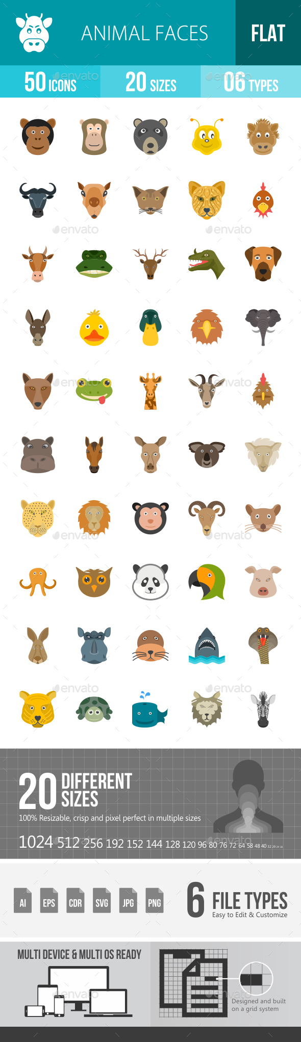 Animal Faces Flat Multicolor Icons - Icons