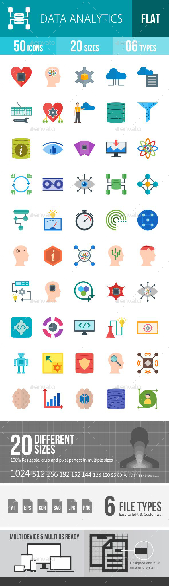 Data Analytics Flat Multicolor Icons - Icons