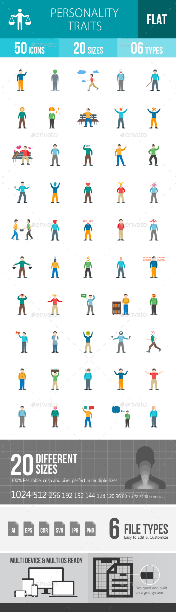 Personality Traits Flat Multicolor Icons - Icons