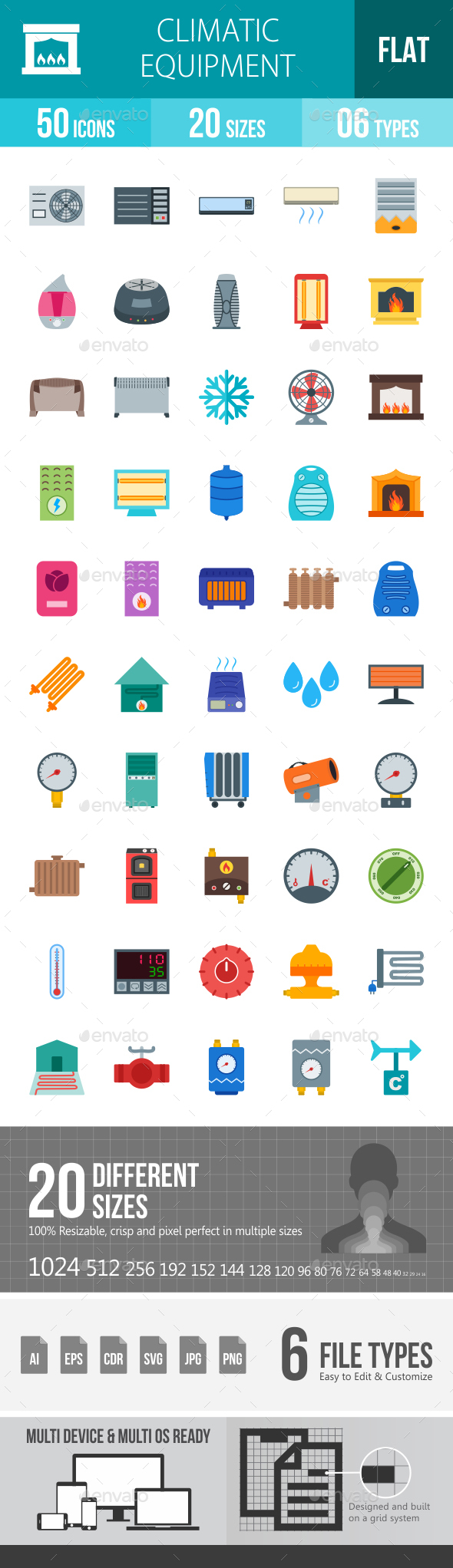 Climatic Equipment Flat Multicolor Icons - Icons