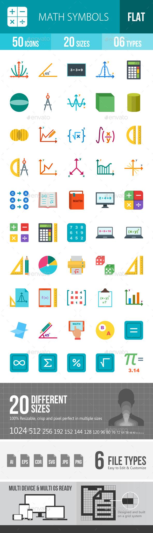 Math Symbols Flat Multicolor Icons - Icons