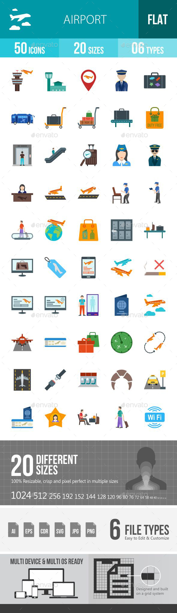Airport Flat Multicolor Icons - Icons