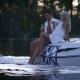 Lovely Charming Couple Relaxing on Floating Boat. Romantic Boating on River - VideoHive Item for Sale