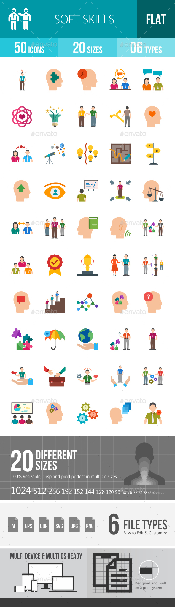 Soft Skills Flat Multicolor Icons - Icons