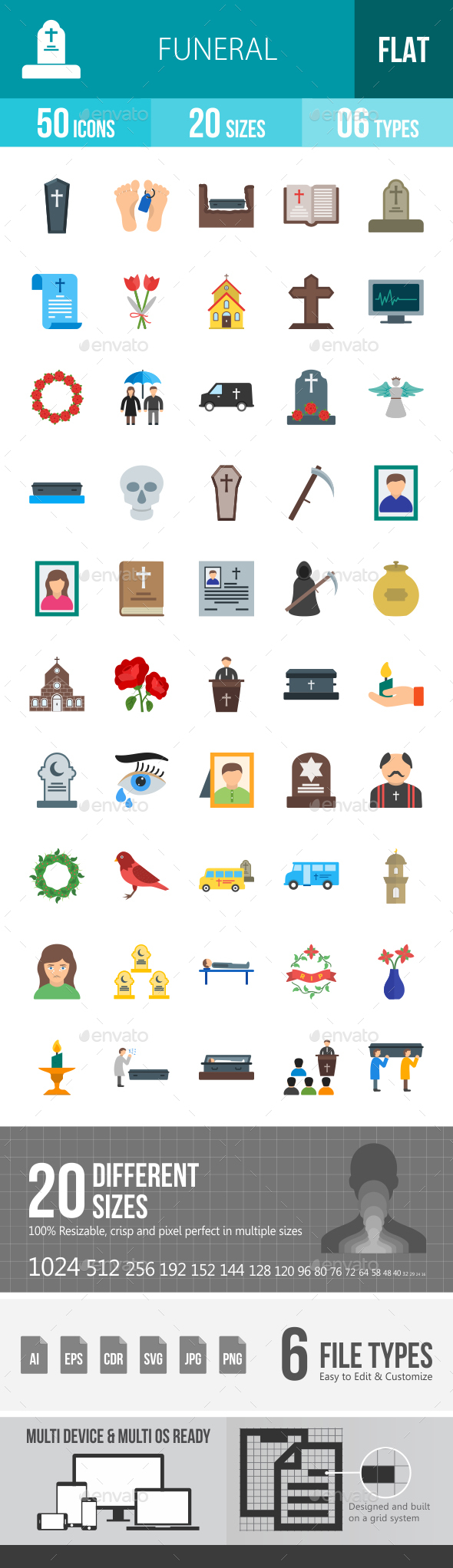 Funeral Flat Multicolor Icons - Icons