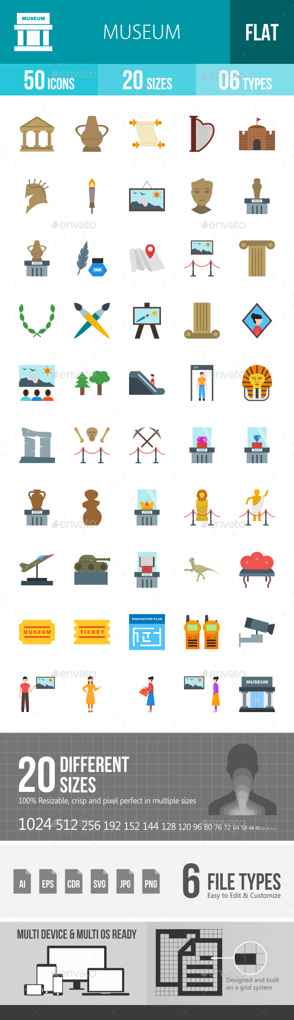Museum Flat Multicolor Icons - Icons