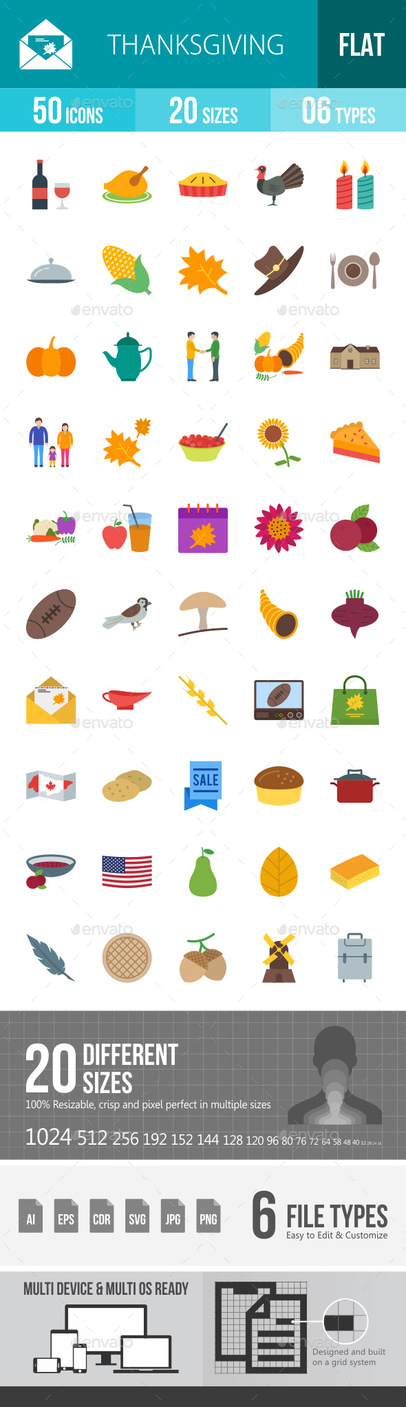 Thanksgiving Flat Multicolor Icons - Icons