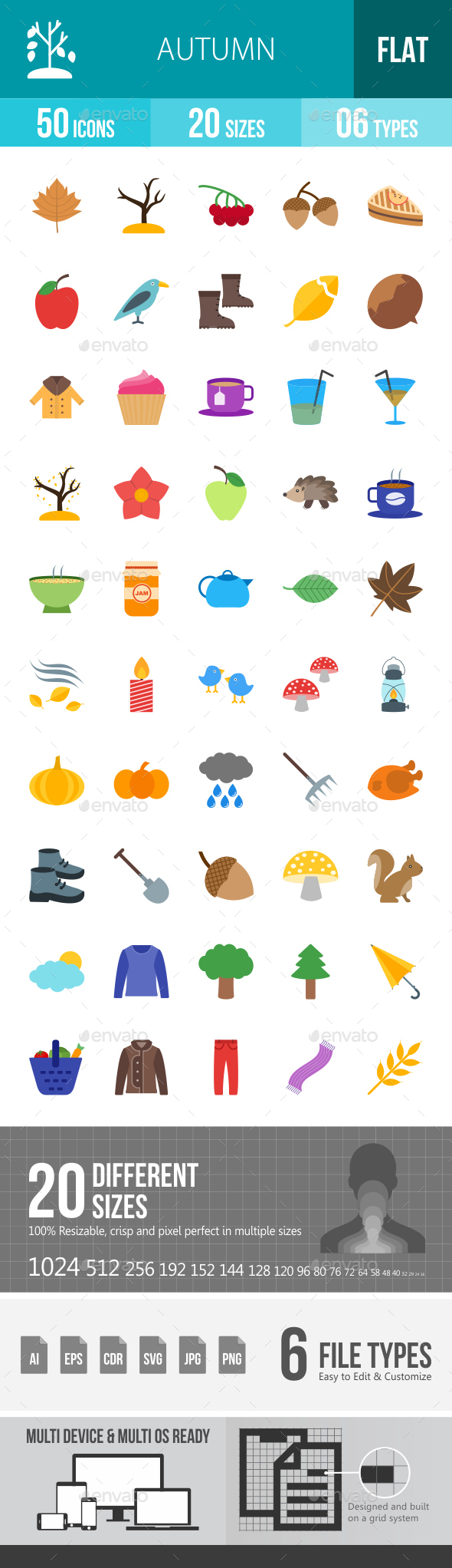 Autumn Flat Multicolor Icons - Icons