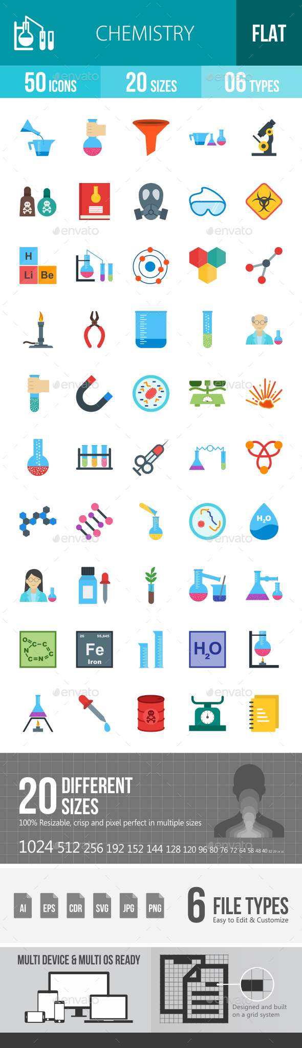 Chemistry Flat Multicolor Icons - Icons
