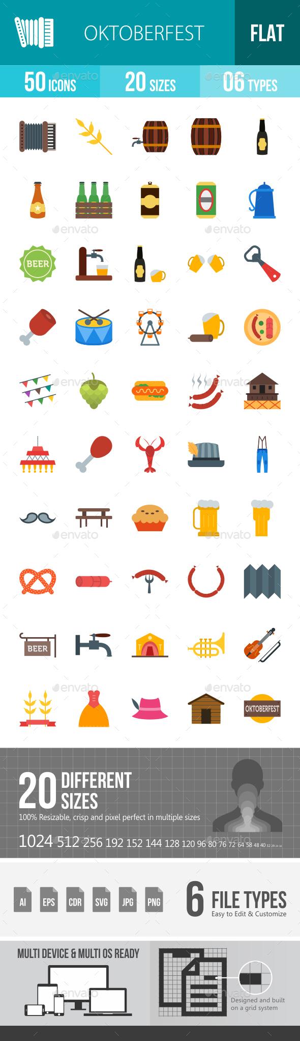 Oktoberfest Flat Multicolor Icons - Icons