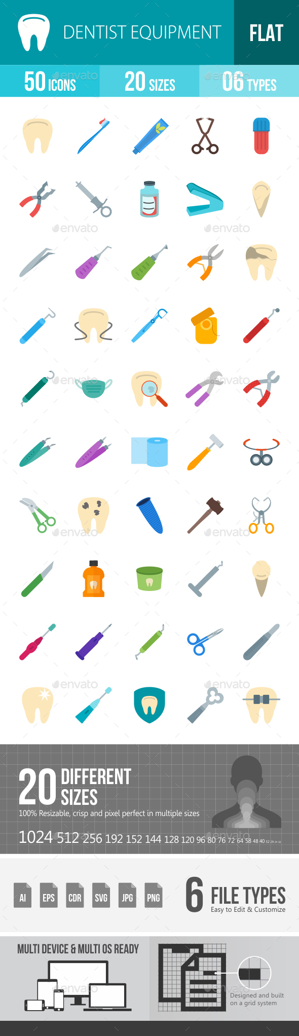 Dentist Equipment Flat Multicolor Icons - Icons