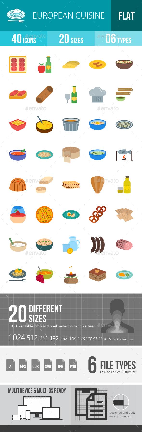 European Cuisine Flat Multicolor Icons - Icons