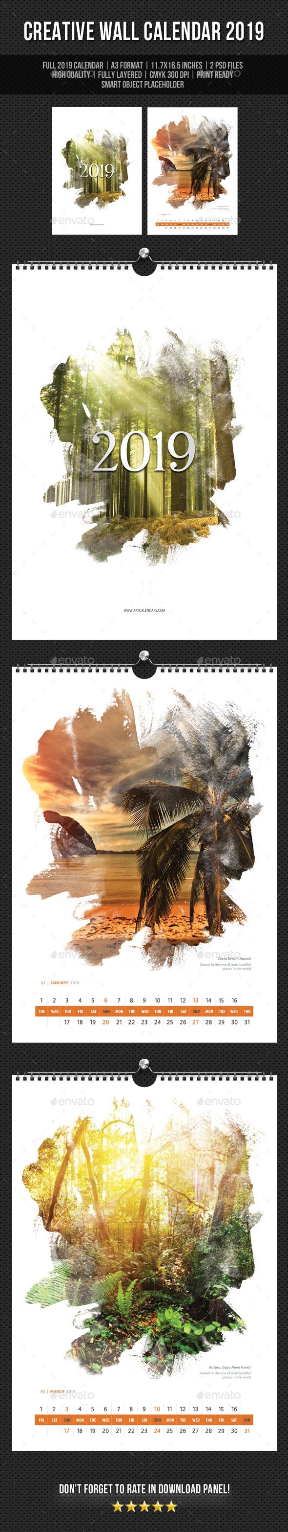 Creative Wall Calendar 2019 V15 - Calendars Stationery