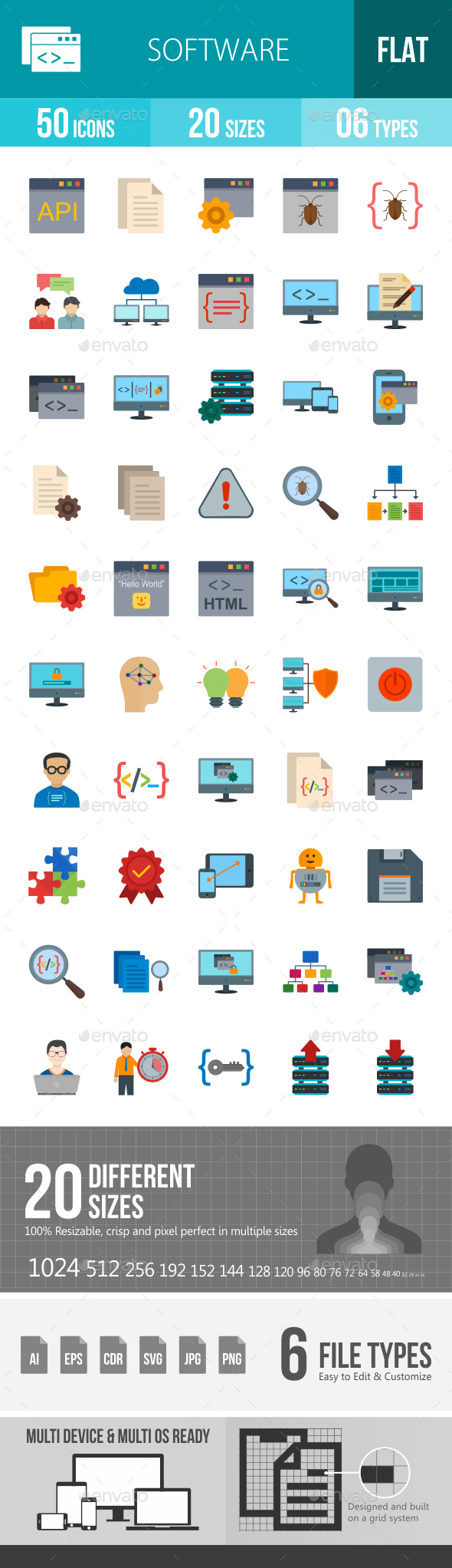 Software Development Flat Multicolor Icons - Icons