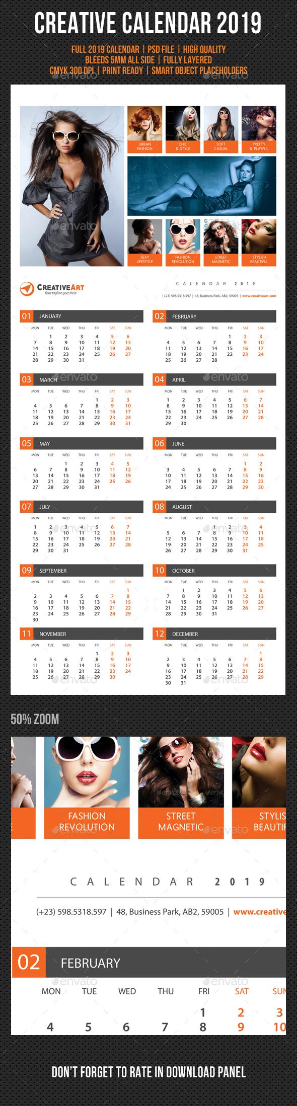 Creative Wall Calendar 2019 V02 - Calendars Stationery