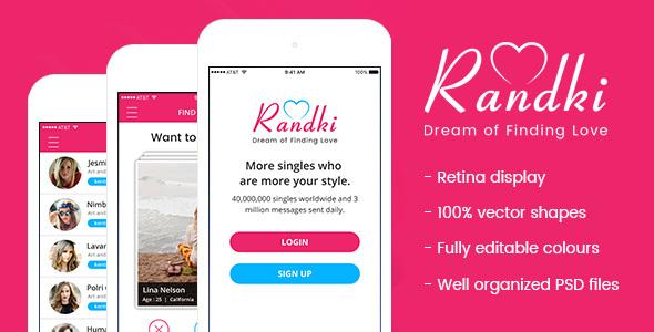 Randki - Dating Mobile App PSD - Social Media Home Personal