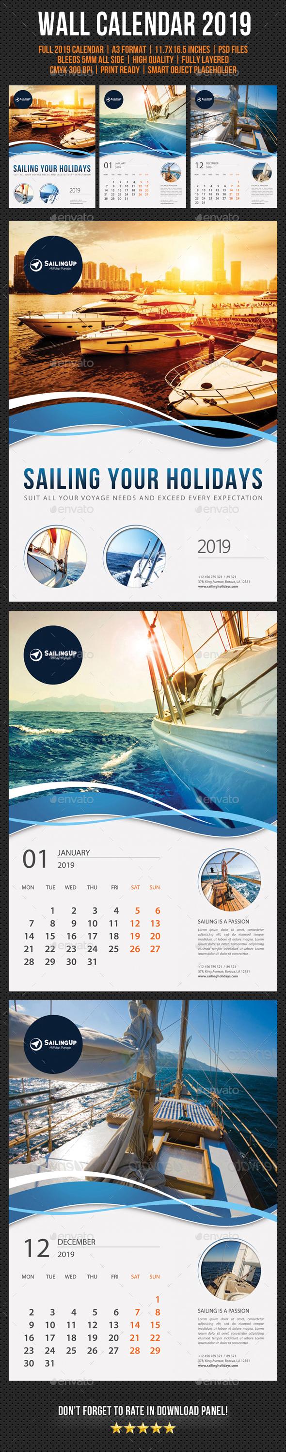 Wall Calendar 2019 V15 - Calendars Stationery