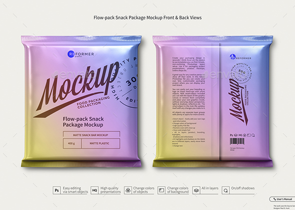 Flow-pack Snack Package Mockup Front & Back Views - Product Mock-Ups Graphics