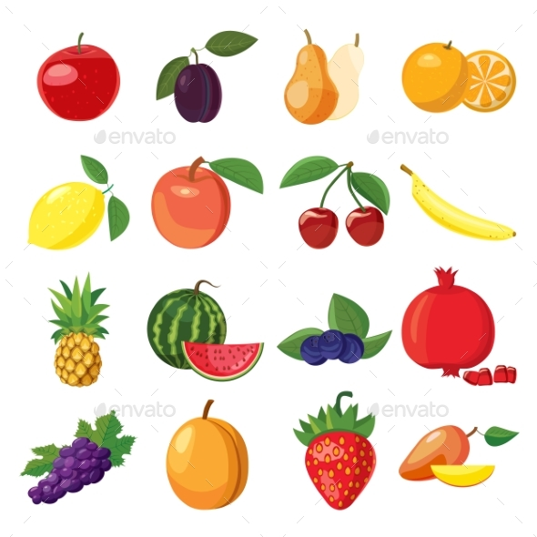 Fruit Icons Set, Cartoon Style - Food Objects