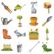 Garden Icons Set, Cartoon Style
