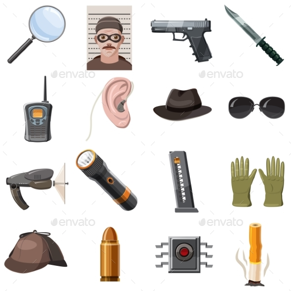 Spy Icons Set, Cartoon Style - People Characters