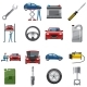 Car Service Icons Set in Cartoon Style