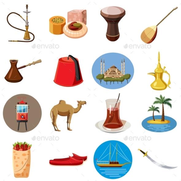 Turkey Travel Icons Set, Cartoon Style - Miscellaneous Vectors