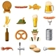 Oktoberfest Icons Set in Cartoon Style