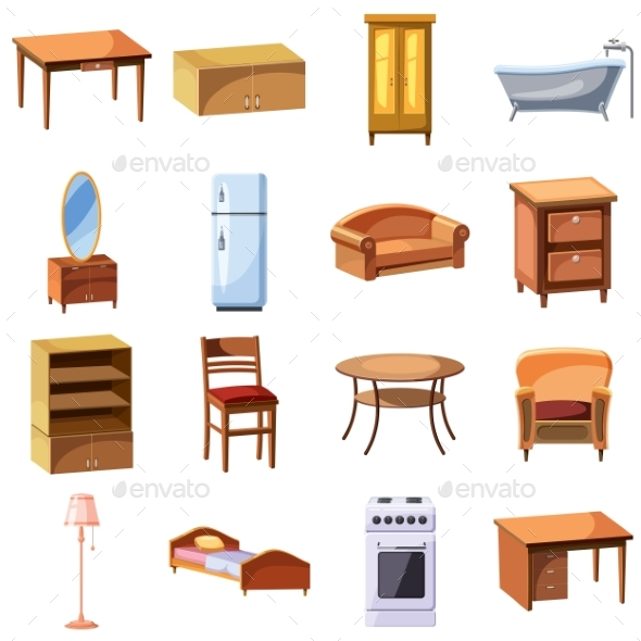 Furniture and Household Appliances Icons Set - Objects Vectors