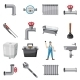 Plumber Items Icons Set, Cartoon Style