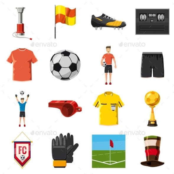 Soccer Icons Set Football, Cartoon Style - Miscellaneous Vectors