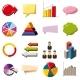 Infographic Elements Icons Set, Cartoon Style
