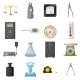 Measure Precision Tools Icons Set, Cartoon Style