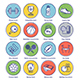 Fitness Line Offset Icon Set