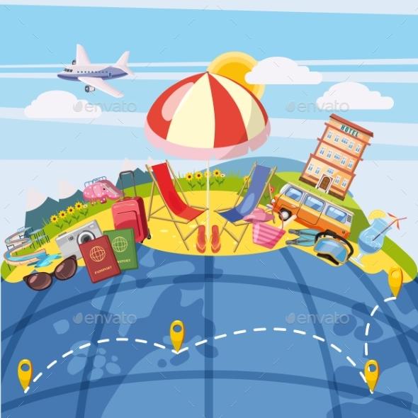 Travel Tourism Concept Global, Cartoon Style - Seasons/Holidays Conceptual