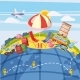 Travel Tourism Concept Global, Cartoon Style