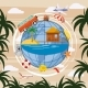 Travel Tourism Concept Globe, Cartoon Style