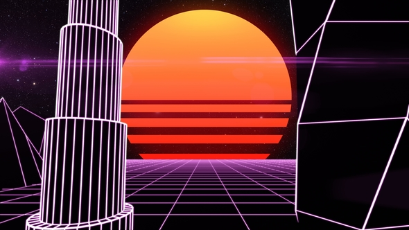 Retro Futuristic Synth Grid Cityscape