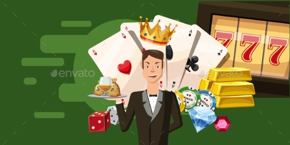 Casino Croupier Horizontal Banner, Cartoon Style - Seasons/Holidays Conceptual